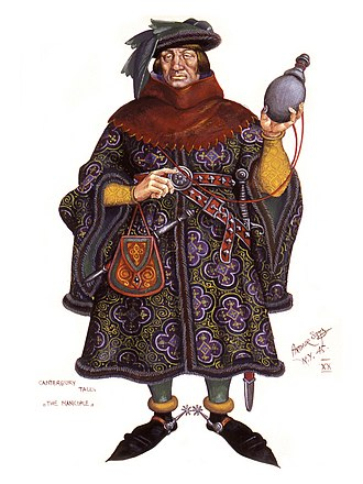 The Manciple's Tale - Modern illustration by Arthur Szyk, showing the Manciple dressed in a short robe and cowl. Though he holds a flask, his stern face and the multiple weapons on his belt reveal his guarded demeanor.