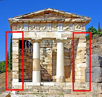 Anta (architecture) - The Athenian Treasury in Delphi with two antae framing a set of two columns.