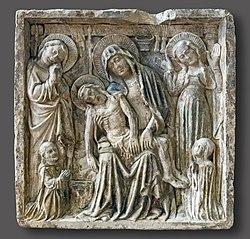 Vierge de Pitié devant les instruments de la Passion