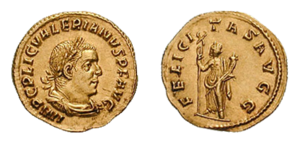 Felicitas - Felicitas Augusta holding a caduceus and a cornucopia, two symbols of health and wealth, on the reverse of an aureus issued under the emperor Valerian