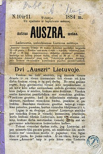 Lithuanian National Revival - Auszra formulated the ideas of nationalism