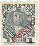 Austrian KK 1 heller Porto Stamp Portrait of Emperor Charles VI Nachmarke.jpg