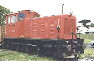 Rail transport in Tasmania - V class diesel shunting locomotive as used in Tasmania.
