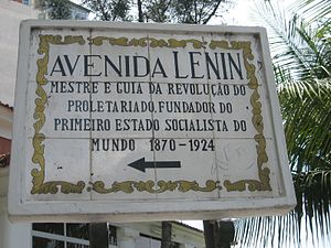 Angolan Portuguese - Sign in Portuguese at the Avenida de Lenin (Lenin avenue) in Luanda