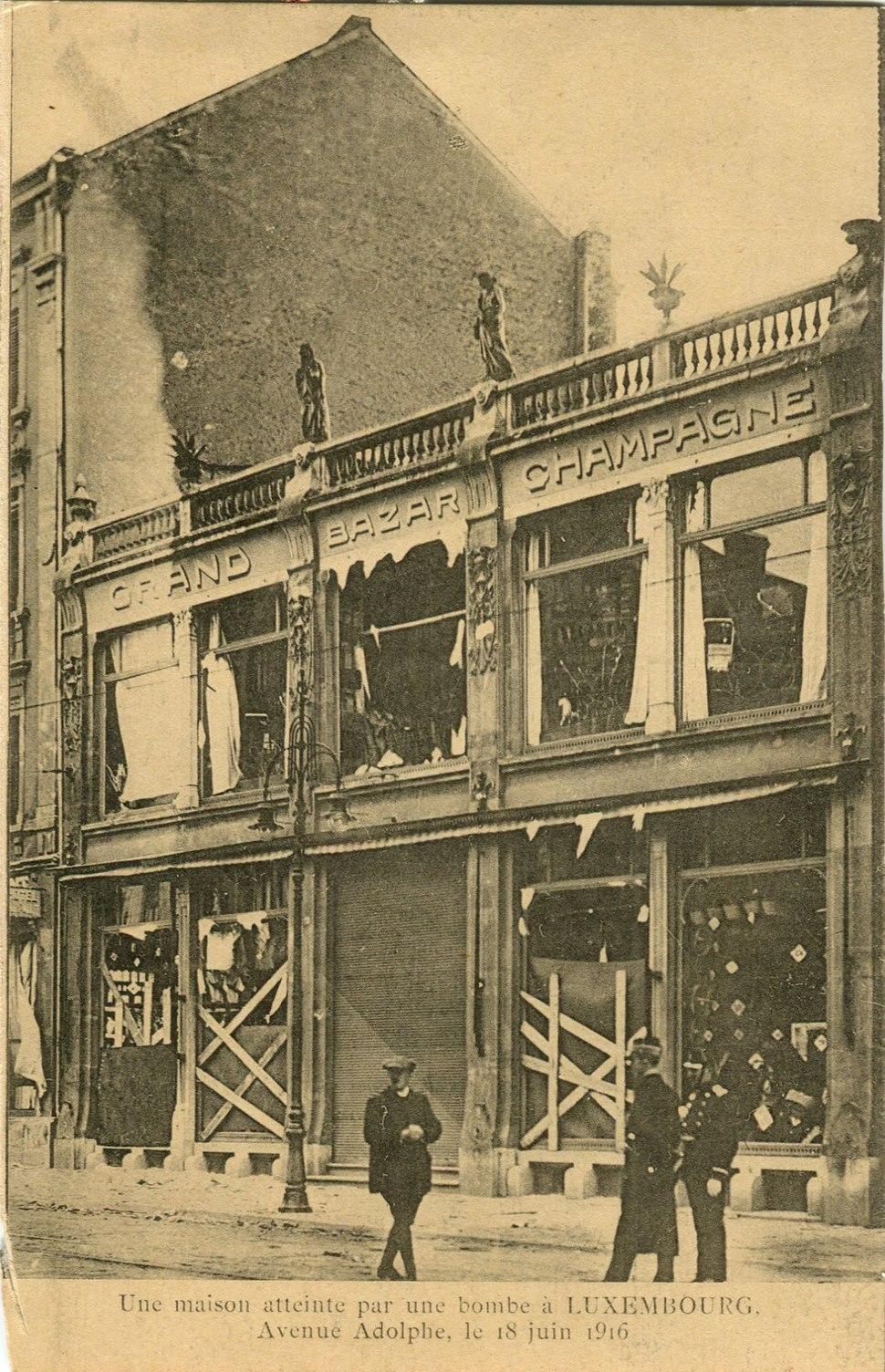 Avenue Adolphe, Grand Bazar Champagne, 18 juin 1916