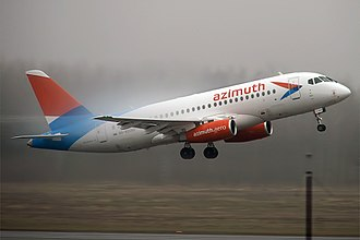 Azimuth (airline) - Azimuth Sukhoi Superjet 100 taking off at Pulkovo Airport