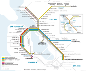 BART weekdays and Saturday system map, Effective June 13, 2020