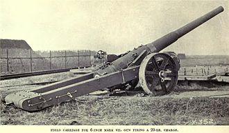 BL 6-inch Mk VII naval gun - Image: BL6inch Gun Mk VII On Scott Carriage
