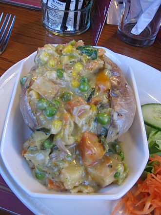 Baked potato - A baked potato in the United Kingdom, with a vegetable gravy