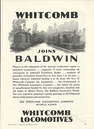 Geo D. Whitcomb Company - Baldwin ad from Engineering and Mining Journal, July 13, 1931.