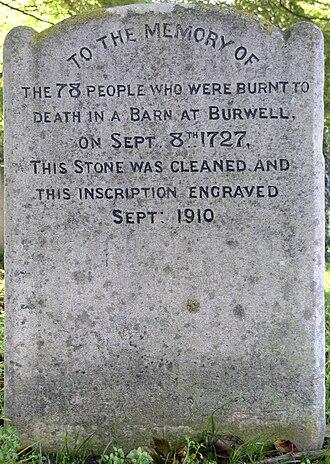 Burwell, Cambridgeshire - Burwell barn fire memorial - obverse