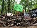Barrier with protest-signs in the Hambach forest 09.jpg