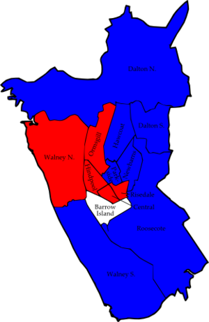 Barrow-in-Furness Borough Council elections - Image: Barrow 2007 election map