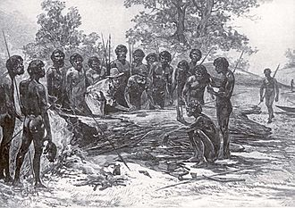 Indigenous Australians - Wurundjeri people at the signing of Batman's Treaty, 1835