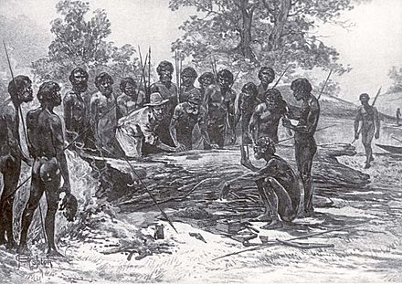 A late 19th-century artist's depiction of John Batman's treaty with a group of Wurundjeri elders Batman signs treaty artist impression.jpg