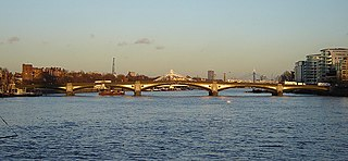 Battersea Bridge arch bridge with cast-iron girders and granite piers crossing the River Thames in London