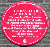 Plaque commemorating the Battle of Cable Street.