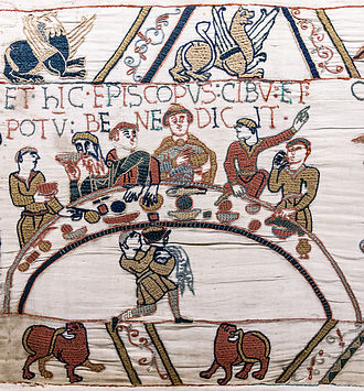 Roger de Beaumont (bishop) - Bayeux Tapestry, depicting Roger de Beaumont with beard (second from left)