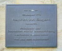 Bayreuth, Ludwigstraße, Neues Schloss, Heinrich von Gagern (Gedenktafel).jpg