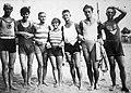 Beach, bathing suit, tableau, man, woman, summer Fortepan 11862.jpg