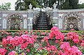 Beatifull roses in front of the waterfall at the shell gallery Rozendaal castle - panoramio.jpg