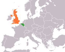 Map indicating locations of Belgium and United Kingdom