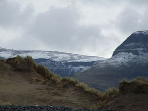 Benbulbin - A snow-capped view of Benbulbin, seen from Streedagh Strand, near Grange.