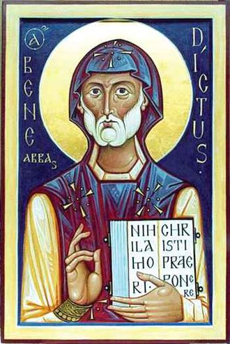 Benedict of Nursia - Eastern Orthodox icon of Saint Benedict.