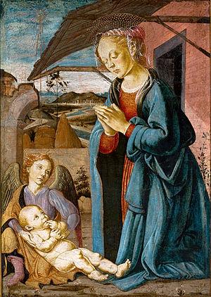 Biagio d'Antonio - Madonna Worshipping the Child and an Angel (c. 1475). (São Paulo Museum of Art, São Paulo).