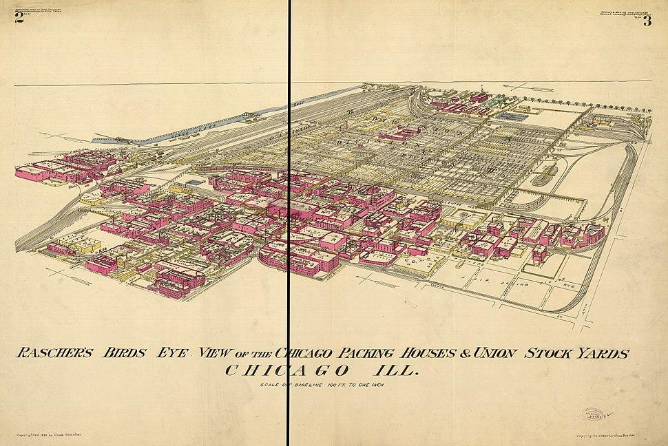 Birdseye View of Union Stock Yards by Rasher, 1890