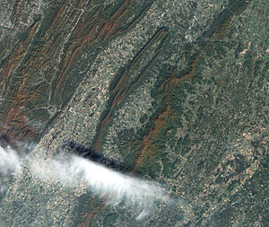 "Shenandoah National Park - Satellite view of the heart of Shenandoah National Park at the height of the fall ""leaf-peeping"" season."