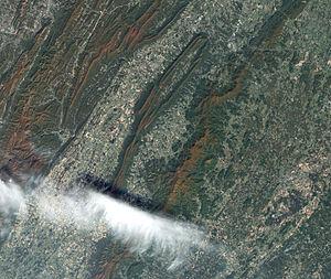 "Shenandoah National Park - Satellite view of the heart of Shenandoah National Park at the height of the fall ""leaf-peeping"" season."