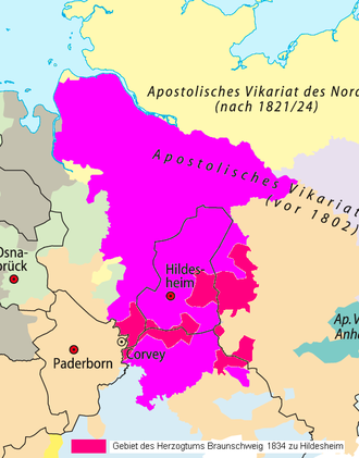 Hildesheim diocese: The ambit until 1824 (black rimmed), after extension of 1824 (in magenta), and after inclusion of Brunswick in 1834 (in red and magenta) Bistum Hildesheim vor 1802 - nach 1824.png