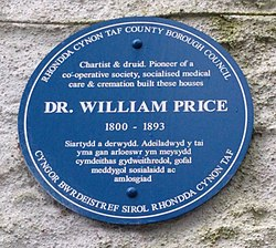 Blue plaque of dr william price birthplace