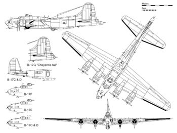 "3-view projection of a B-17G, with inset detail showing the ""Cheyenne tail"" and some major differences with other B-17 variants."