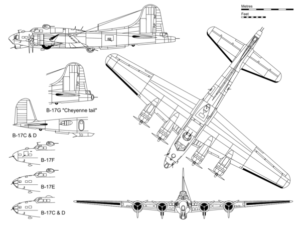 "3-view projection of a B-17G, with inset detail showing the ""Cheyenne tail"" and some major differences with other B-17 variants Boeing B-17G.png"