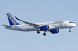 Bombardier BD-500-1A11 CSeries CS300 on finals after its first flight.jpg