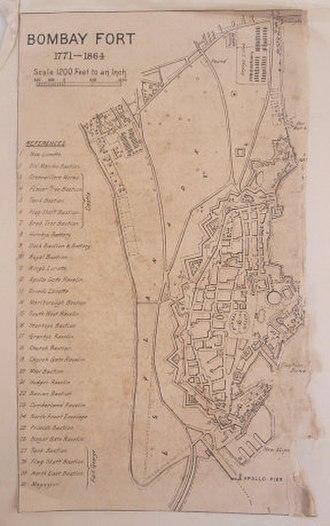 Fort (Mumbai precinct) - Bombay fort map 1771-1864