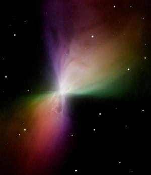 Bipolar outflow - The Boomerang Nebula is an excellent example of a bipolar outflow. Image credit: NASA, STScI.