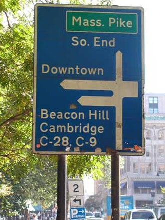 """Massachusetts State Highway System - UK """"Worboys"""" style road sign in Boston showing former C routes"""