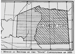 Compromise of 1850 - New Mexico proposed boundary before Compromise of 1850