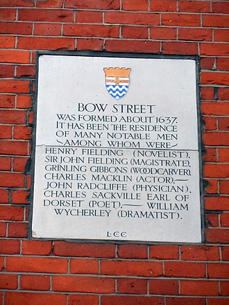 Bow Street - A plaque on Bow Street, showing some notable former residents