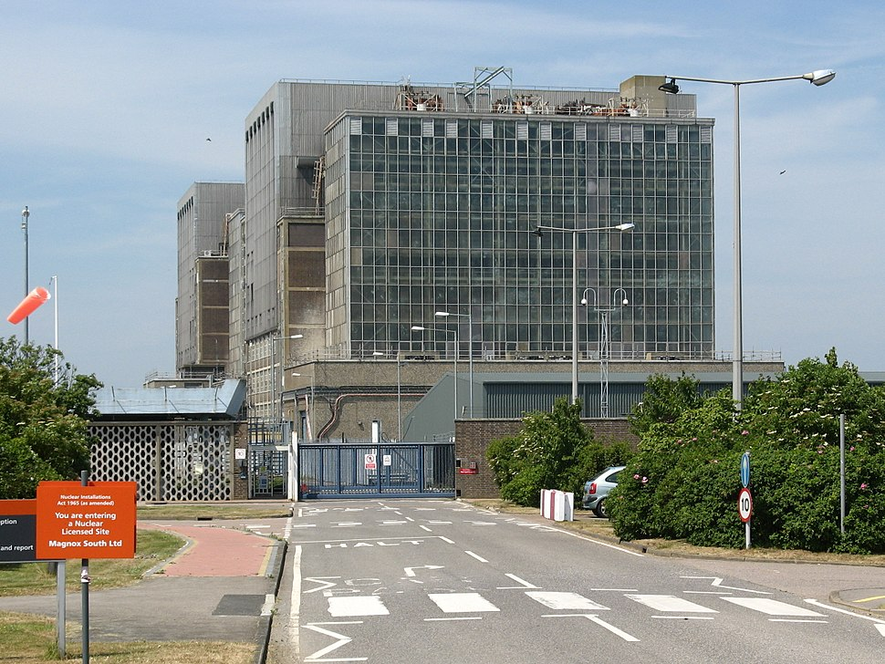 Bradwell nuclear power station, from entrance road