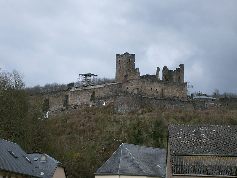 "The castle of Brandenbourg, Luxembourg. View from south-west, street named ""Schlapp""."
