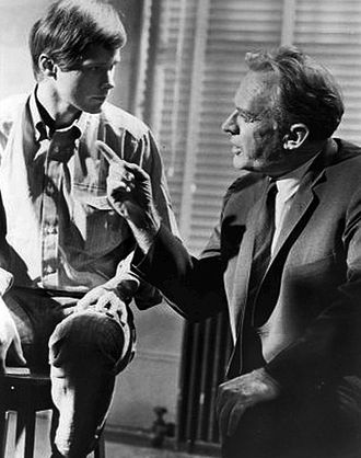 """Brandon deWilde - DeWilde with Arthur Kennedy in """"The Confession"""" on 'ABC Stage 67' in 1966."""