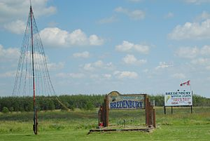 Bredenbury, Saskatchewan - Signs and Christmas tree at the eastern entrance to Bredenbury, SK off Highway 16.