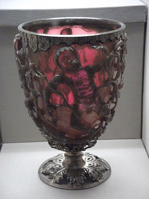 Cranberry glass - The 4th-century Lycurgus Cup, a 4th-century Roman glass cage cup made of a dichroic glass