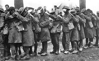 Chemical weapons in World War I - British troops blinded by poison gas during the Battle of Estaires, 1918