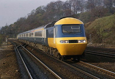 October 4: The InterCity 125 high-speed train is introduced in the UK; services begin two days later. British Rail Class 43 at Chesterfield.jpg
