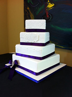 Buttercream - A wedding cake prepared with Swiss meringue buttercream filling and other ingredients